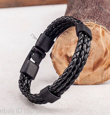 Trendy Mens Womens Rope Braided Surfer Black Clasp Leather Bracelet Wristband