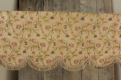 Vintage French Silk brocade valance 1950's pelmet with fringe floral woven