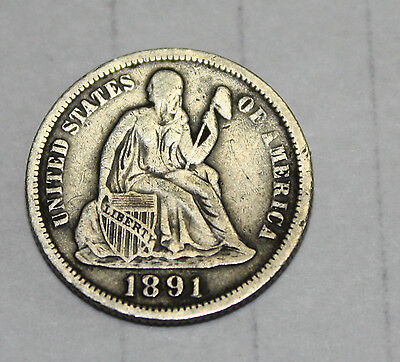 1891 Seated Liberty Dime circulated
