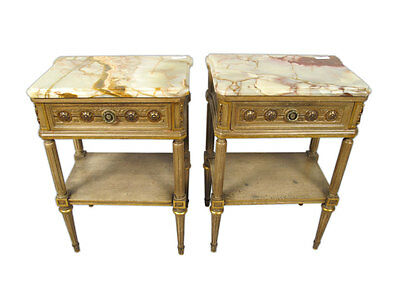 Antique French Pair of Louis XVI Style Marble Top Side Tables - 11344