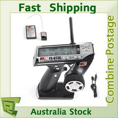 FLYSKY FS-GT3C GT3 3ch 2.4GHz LCD Silver Transmitter & Receiver For RC Car Boat