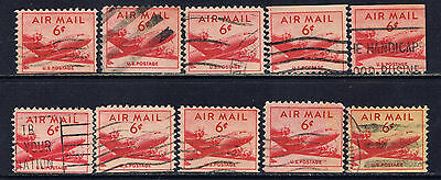 United States #C39as(11) 1949 6 cent DC-4 Skymaster Plane BOOKLET VARIETIES