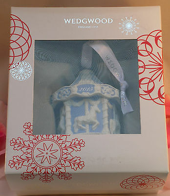 New Wedgwood Blue Jaspeware Baby 1ST First Christmas Carousel Ornament 2015