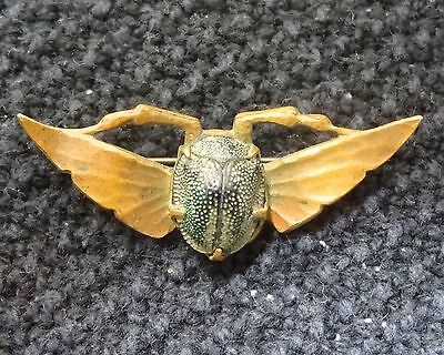 Antique Egyptian Revival Scarab Insect Bug Beetle Brass Brooch Pin