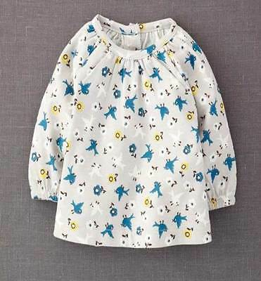 Mini Boden girls grey cotton bird print top new age baby 0 months - 4 years