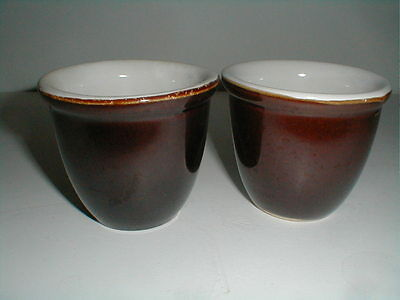 Marcrest Brown & White USA Stoneware Custard Cup/s (loc-big)