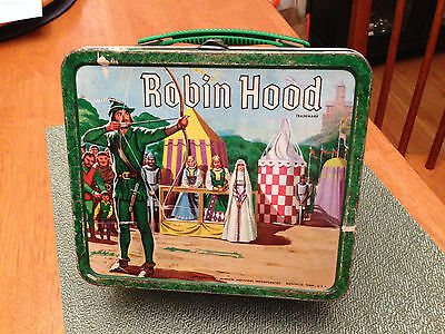Robin Hood Vintage Metal Lunchbox with Thermos 1956 Very Nice Retro Lunch Box |