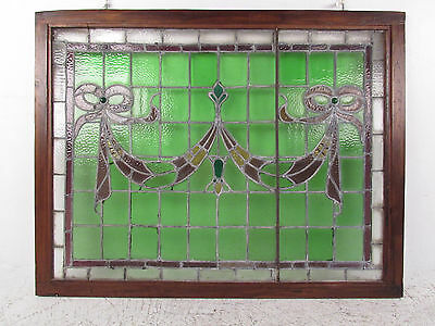 Vintage Stained Glass Ribbon Hanging Window (1265)NJ