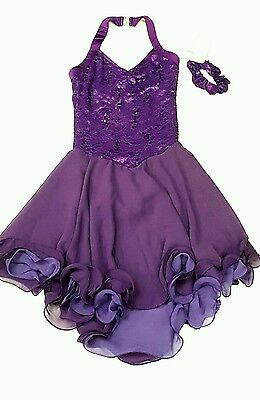 New Ice Dance  Skating Dress Elite Xpression  Purple Lace CL 10-12