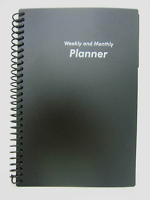 BLACK NOTEBOOK SPIRAL STYLE MONTHLY WEEKLY PLANNER ADDRESS BOOK 5 x 8 72 SHEETS