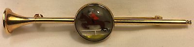 Hunting Hounds in Crystal Costume Jewelry Gold Coaching Horn Pin Stockpin