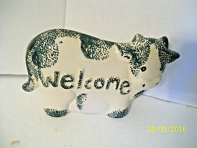 hermitage pottery COW ceramic figural Welcome Sign kitschy decor