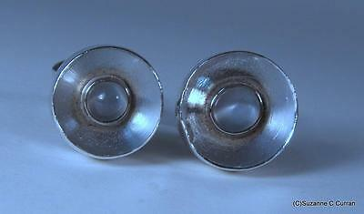 Taxco 970 Sterling Silver Antonio Pineda Modernist Moonstone Cufflink Cuff Links