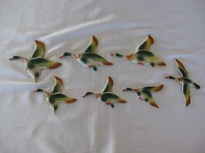 Ceramic Flying Mallard Wall Ducks X 7 - Retro (D701)