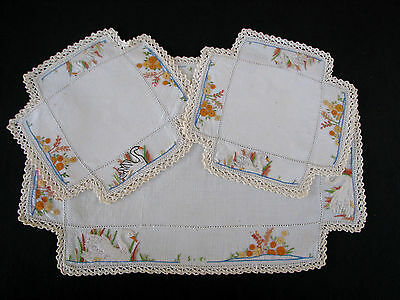 Vintage Three Piece Hand Embroidered Doily Set - White Swan & Flowers