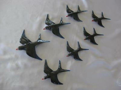 Ceramic Flying Wall Hanging Swallows X 7 - Retro Style (S705)