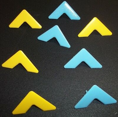 METAL PHOTO CORNER BRADS  x 8 *YELLOW & BLUE*  GREAT FOR SCRAPBOOKING/CARDS