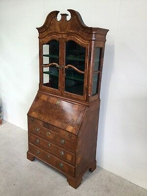 Antique Victorian Walnut Bureau Bookcase Dutch Inlaid Good Size Impressive