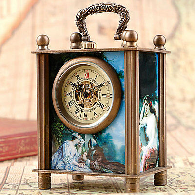 Xmas Gift Antique Style Painted Mechanical Hand Wind Watch Stand Desk Watch