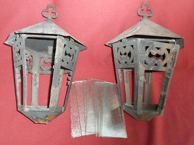 1920S Arts & Crafts Porch Fixtures Pr W/ Slag Glass For Restoration/parts