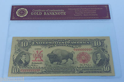 Colourised $10 USD 1901 Gold Plated Banknote With COA (n73c)