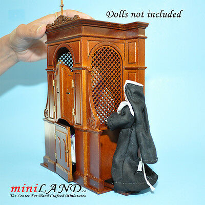 Confessional box booth miniature dollhouse church 1:12 scale -Top Quality walnut