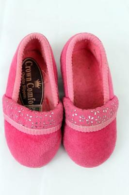 Childs Girls Vintage 40s Style Crown Comfort Pink Slippers Age 18mths - 2 Yrs