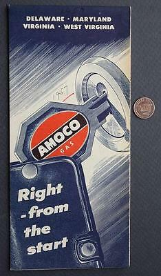 1955 Amoco Oil Gas service station Delaware-Maryland-West Virginia road map-NICE