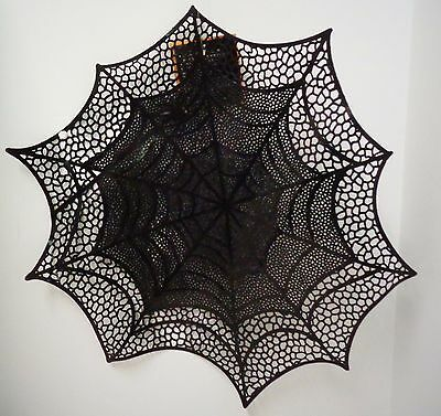 """Spider Web Black Vinyl Placemat (18"""" Circular) new with tags"""