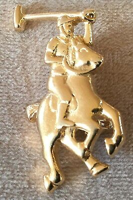Equestrian Horse and Polo Rider Costume Gold Pin