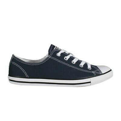 073d74ed37c4 Converse Chuck Taylor Dainty Ox Ladies Flat Trainers Shoes Narrow Slim Blue  Navy