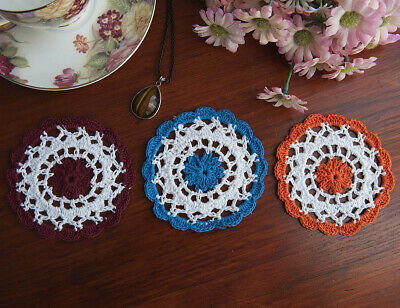 Hand Crochet Lace Doily Doilies Mat Cupmat Round 10CM White in 3 Colour Edging