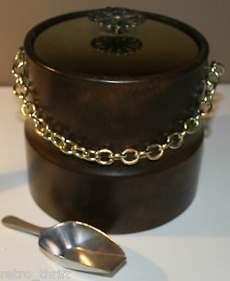 Vintage Mid Century Modern Ice Bucket Gold Colored Chain w Great Britain Spoon