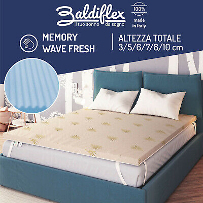 Topper Correttore Materasso Memory Fresh Wave Flex Visco Sfoderabile Aloe Vera