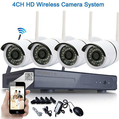 4Pcs HD 720P Outdoor P2P WIFI 4CH NVR CCTV Security Wireless IP Camera System