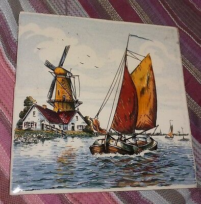 """Vintage DELFT SAILBOAT & WINDMILL Multicolor 6-inch TILE 1/4"""" thick As Found"""