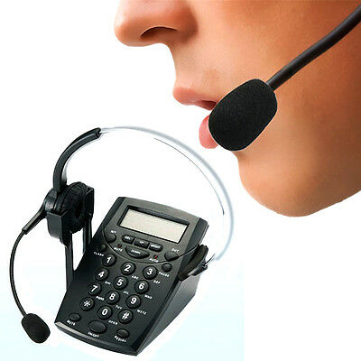 LCD Display Office Telephone With Corded Headset Call Center Phone Dial Pad LSRG