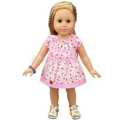 Pink Floral Dress with Fixed Red Rose Clothes for 18inch American Girl Dolls