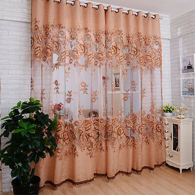 Floral Tulle Room Door Blackout Window Curtain Decal Drape Panel Sheer Scarf
