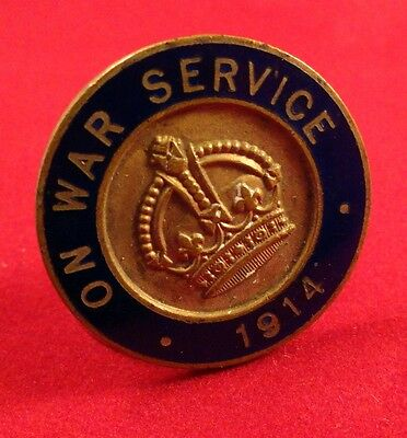 Original WWI 1914 On War Service Blue Enamel Lapel Badge Pin, Restall Birmingham