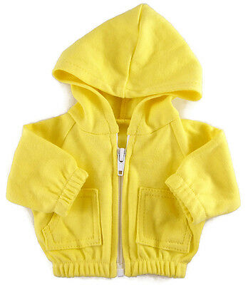 """Yellow Hoodie Hooded Jacket Sweatshirt made for 18"""" American Girl Doll Clothes"""