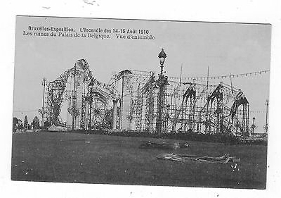 Belgium. Brussels .1910 Exhibition Fire/disaster.old Printed Postcard