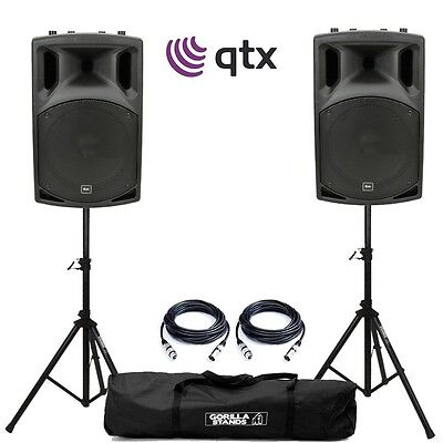 QTX QX15A 500W 15 Inch Active DJ Band PA Speaker (Pair) with Stands and Cables