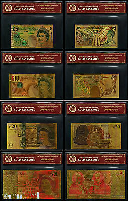 COLOURISED GBP SET *4 banknotes* 24K Gold Plated Banknotes With *COA* (n5s)
