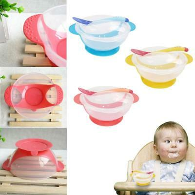 Baby Kids Child Dinner Spill-Proof Sucker Non Skid Bowl Dishes Spoon + Cover LA