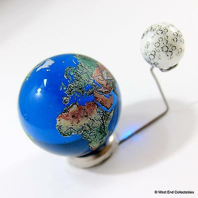 To Scale: 35mm Planet Earth Globe & 15mm Moon Marble + Elevated Stand - Orrery