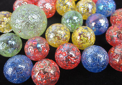 25 Glass Marbles STARDUST Speckled Glitterbomb red green yellow blue  Shooter
