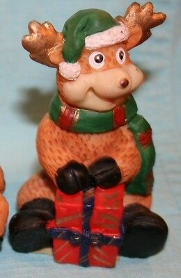 "Russ Reindeer with Red Package 3"" tall Handcrafted Ornament NEW!"