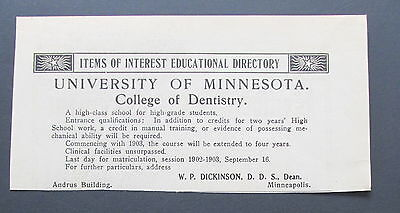 1903 Antique Ad Dentist School University Minnesota Dentistry High School (Q2)