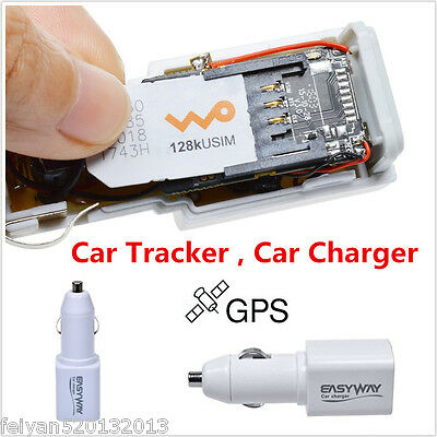 Real Time GPS Tracker GSM GPRS System Car Charger Tracking Device Mini Spy White